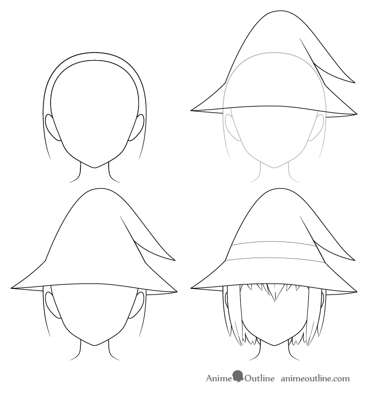 Anime wizard hat drawing step by step