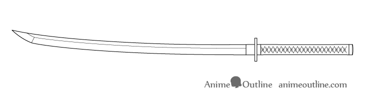 Katana hilt wrap folds drawing