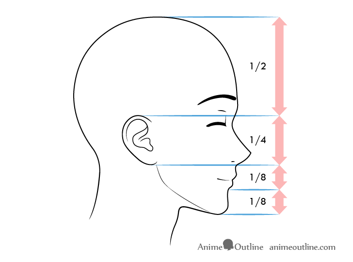 Anime male face proportions side view content expression
