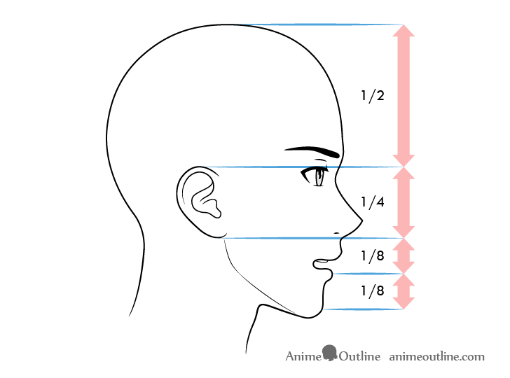 Anime male face proportions side view lightly open mouth