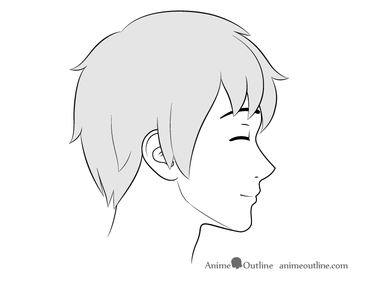 Anime male face side view content expression drawing