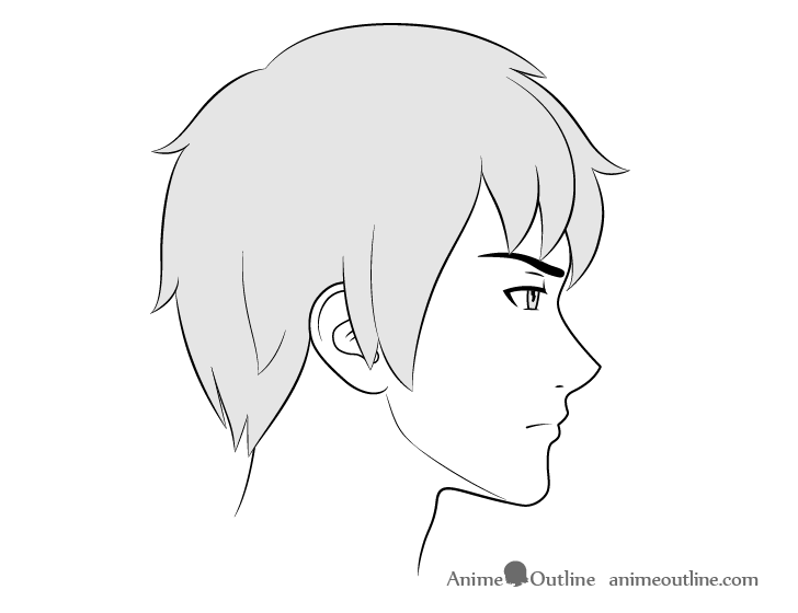 Anime male face side view frowning expression drawing
