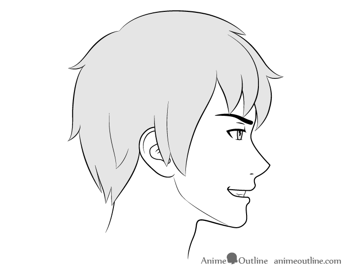 Anime male face side view grinning expression drawing