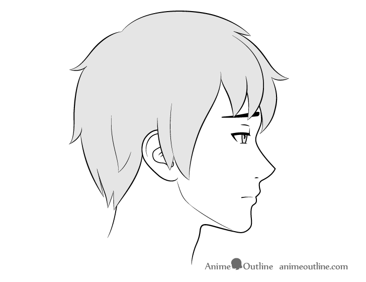 Anime male face side view upset expression drawing