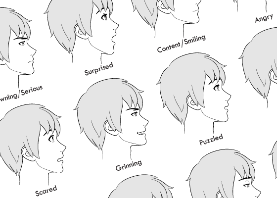 Anime male facial expressions side view