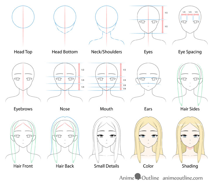 Beautiful anime girl drawing step by step
