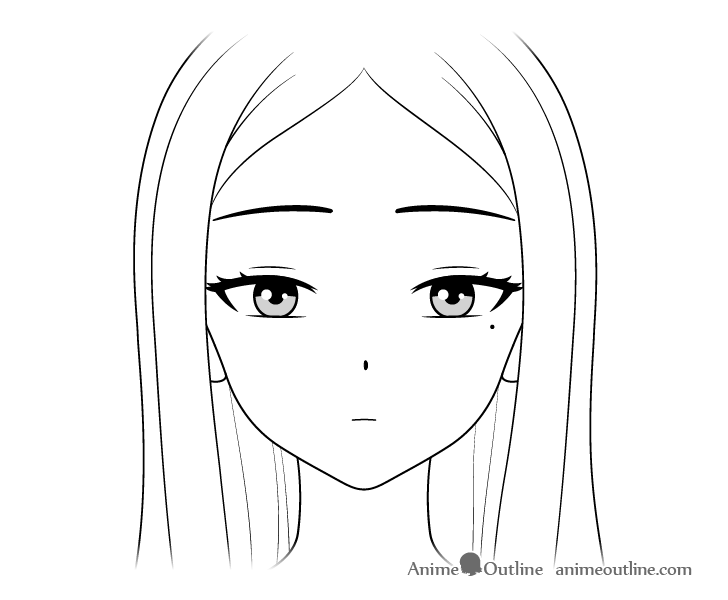 Beautiful anime girl face close up drawing