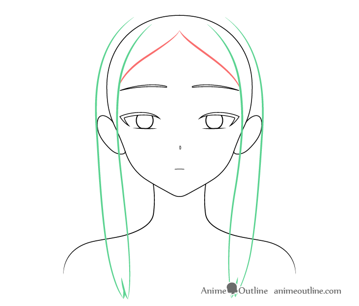 Beautiful anime girl hair front drawing