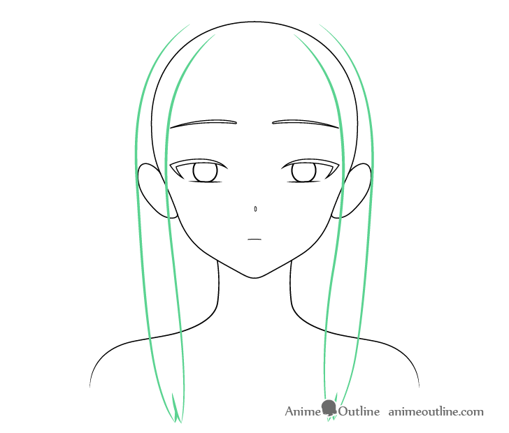 Beautiful anime girl hair sides drawing