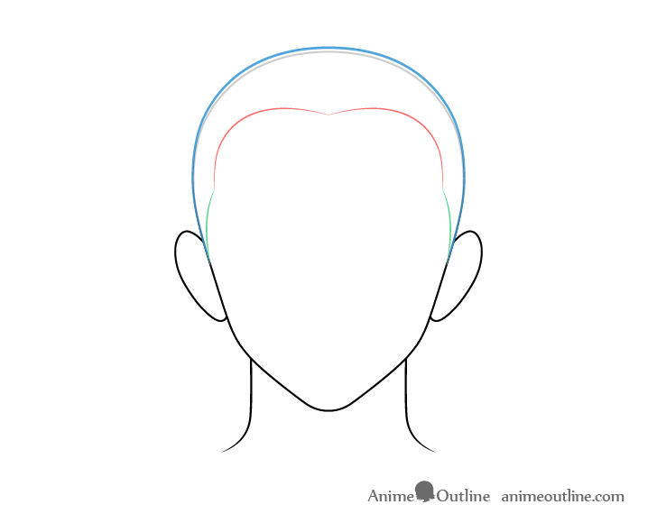 Anime buzz cut male hair top drawing