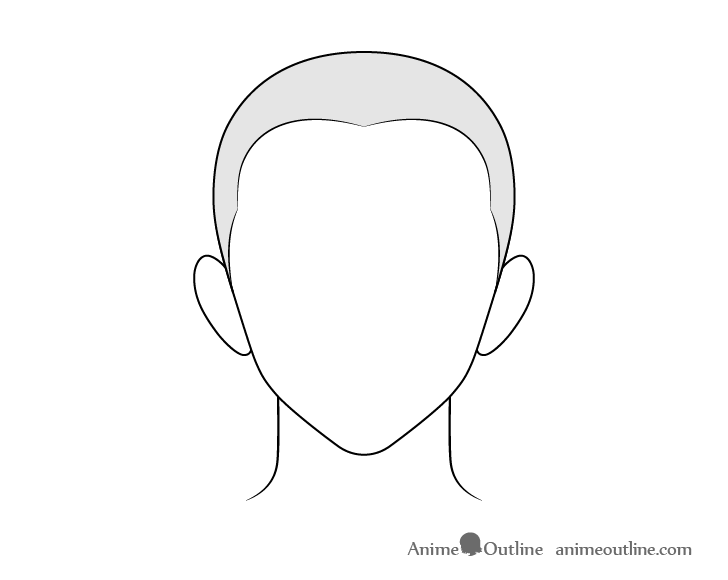 Anime buzz cut male hair drawing