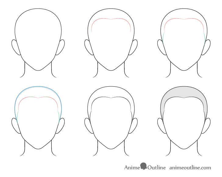 Anime buzz cut male hair drawing step by step