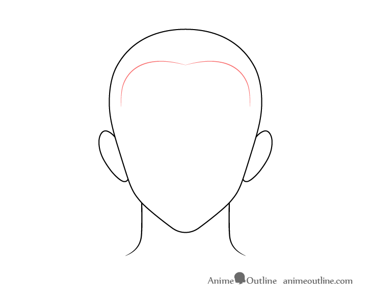 Anime buzz cut male hair front drawing