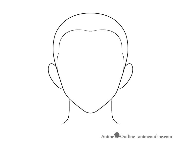 Anime buzz cut male hair line drawing