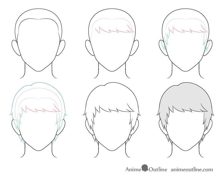 Anime combed male hair drawing step by step