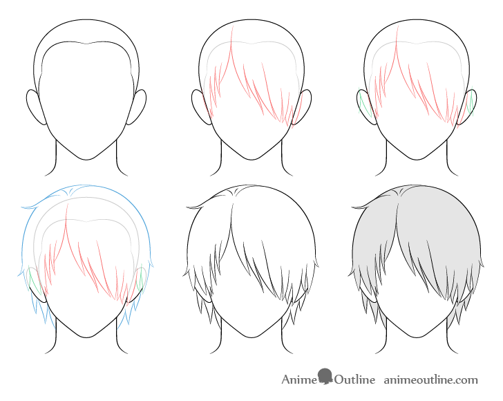 Anime male hair over one eye drawing step by step