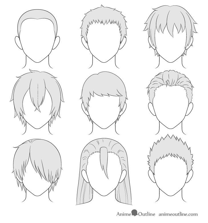 Fine How To Draw Anime Male Hair Step By Step Animeoutline Natural Hairstyles Runnerswayorg