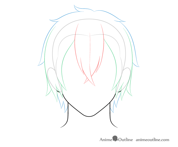 Anime medium long male hair back and top drawing