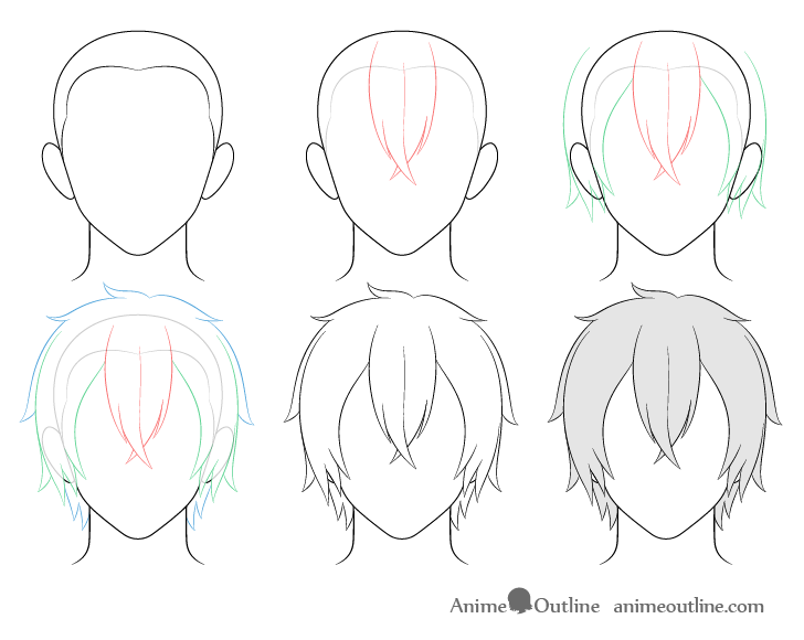 Anime medium long male hair drawing step by step