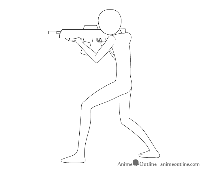 Anime aiming pose drawing