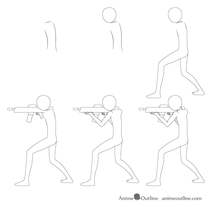 Anime aiming pose drawing step by step