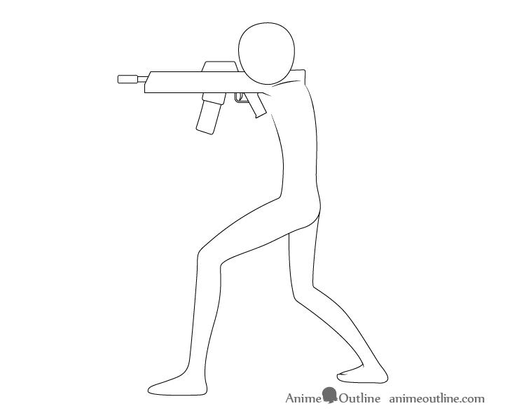 Anime aiming pose gun drawing