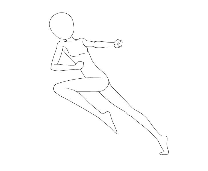 Anime dashing pose drawing