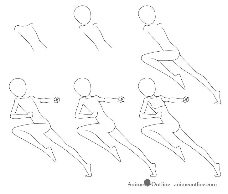 Anime dashing pose drawing step by step