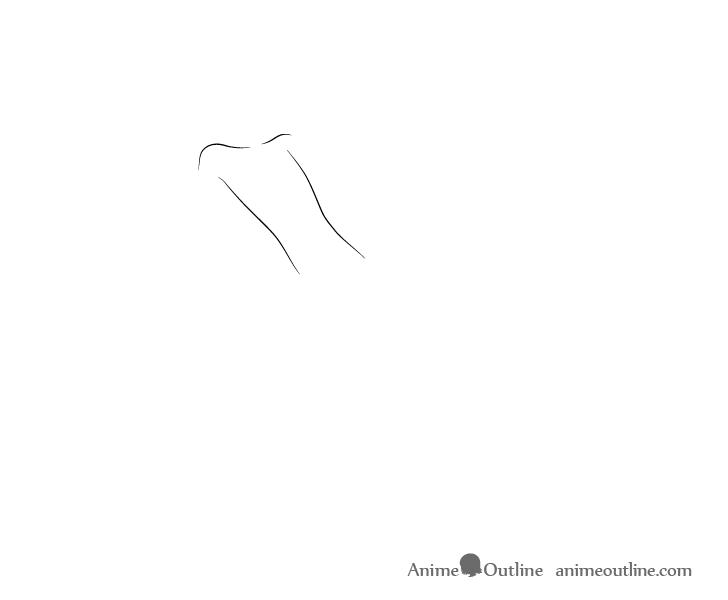Anime dashing pose torso drawing