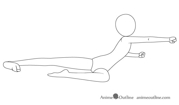 Anime flying kick pose arms drawing