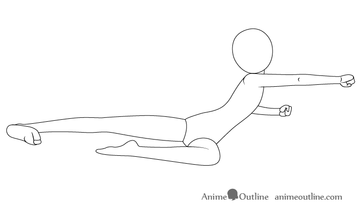Anime flying kick neck drawing