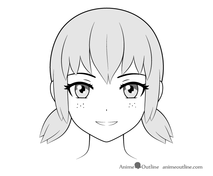 Anime freckles on cheeks drawing