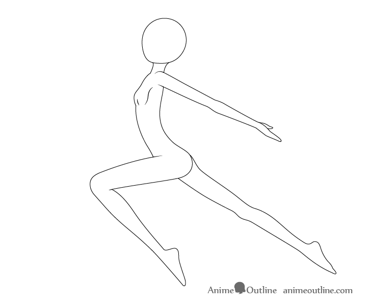 Anime leaping pose drawing