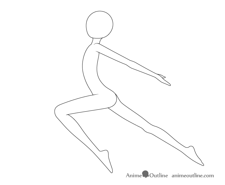 Anime leaping pose neck drawing