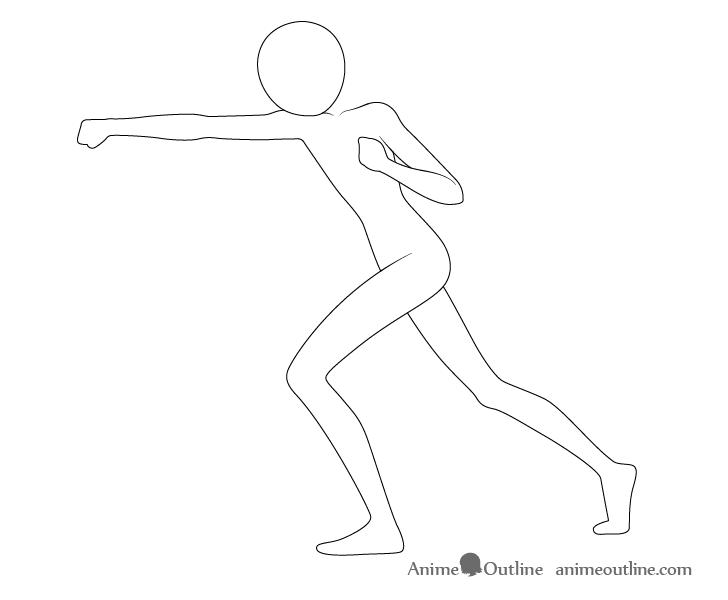 Anime punching pose arms drawing