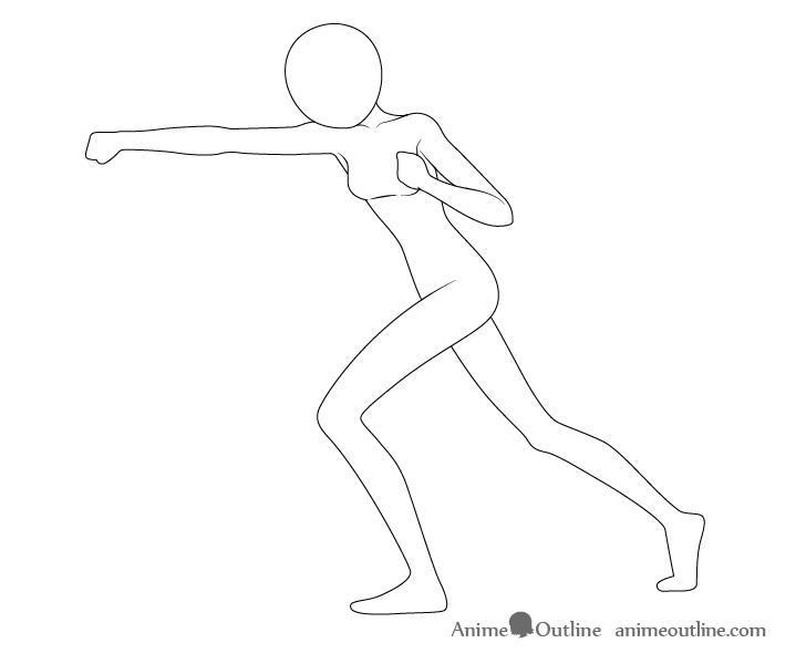 Anime punching pose drawing