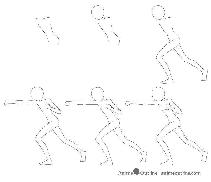 Anime punching pose drawing step by step