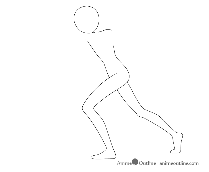Anime punching pose legs drawing