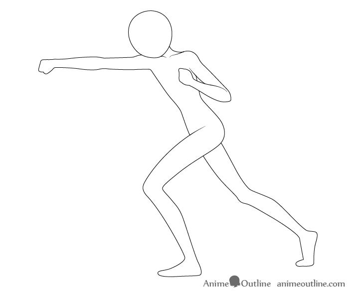 Anime punching pose neck drawing