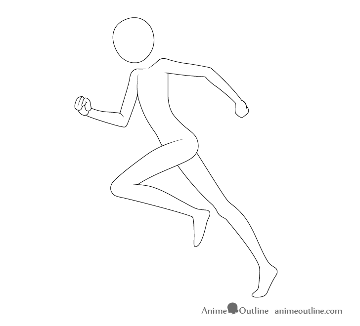 Anime running pose arms drawing