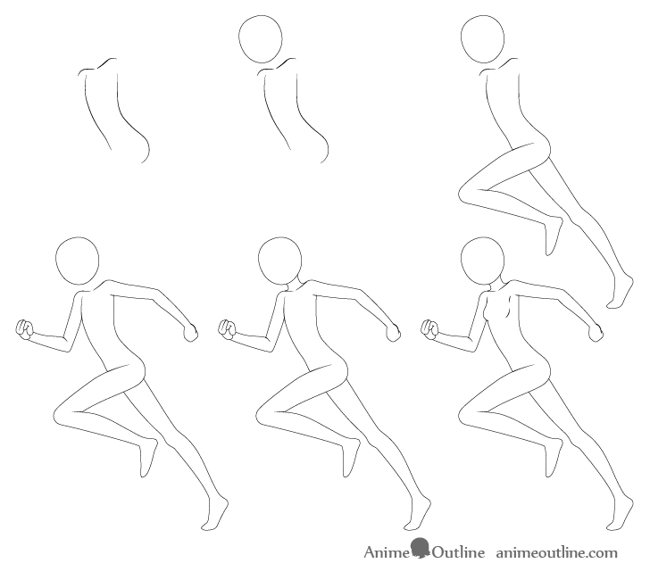 Anime running pose drawing step by step