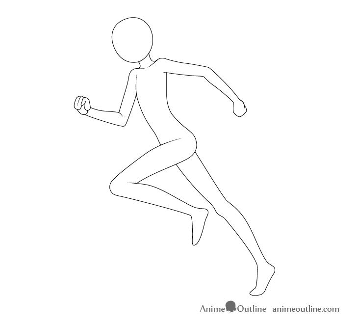 Anime running pose neck drawing