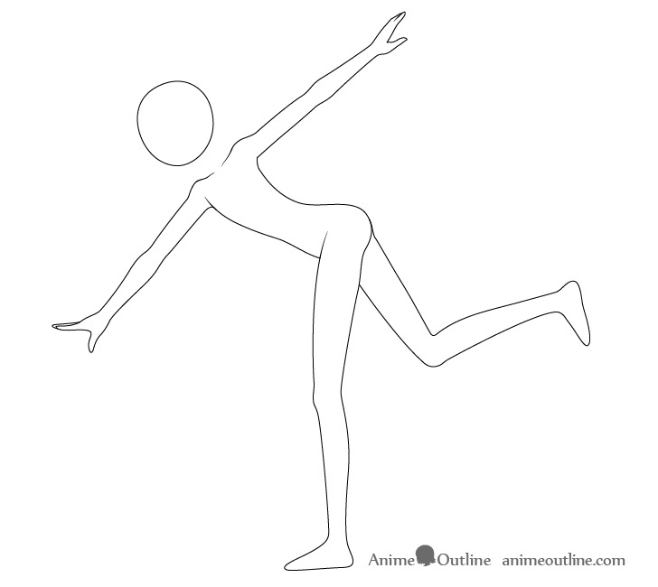 Anime throwing pose arms drawing