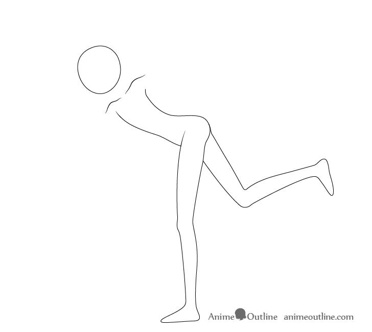 Anime throwing pose legs drawing
