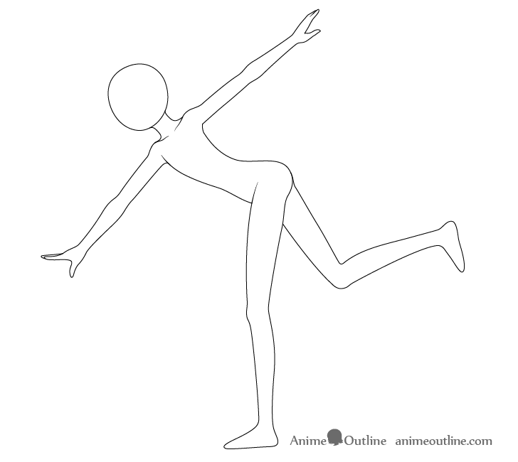 Anime throwing pose neck drawing