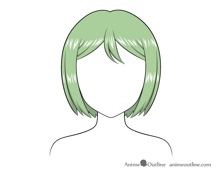 Anime combed hair highlights drawing