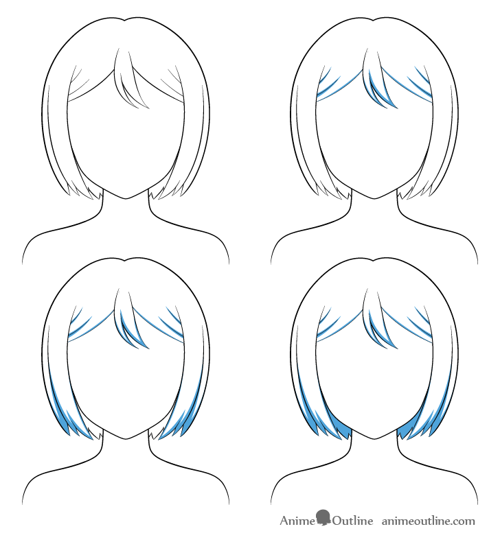 Anime combed hair shading steps