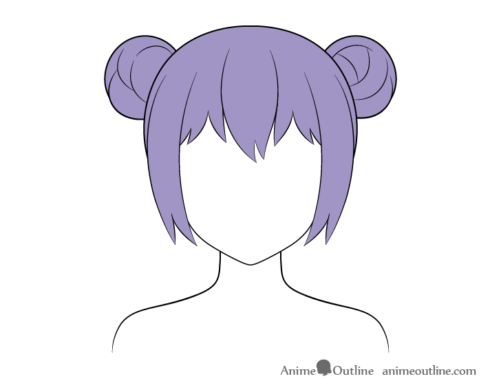 Anime hair buns coloring