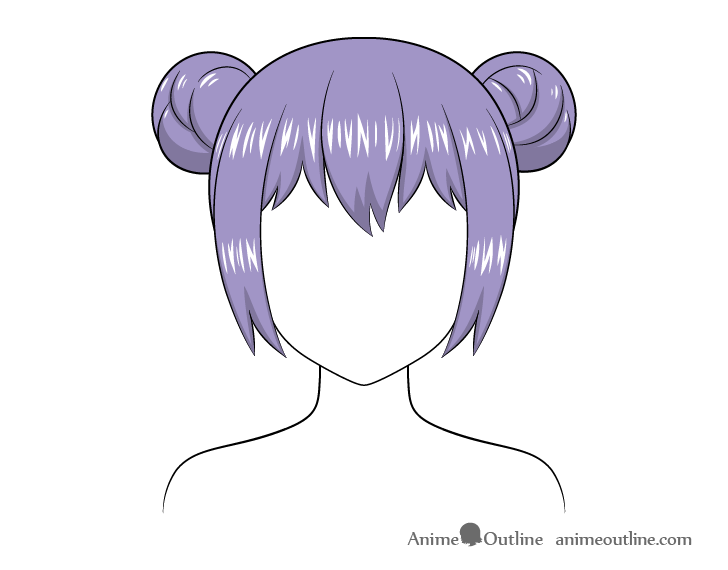 Anime hair buns highlights drawing