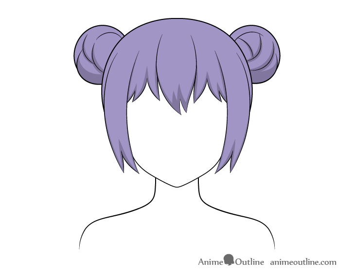Anime hair buns shading